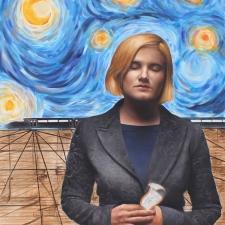 David Shepard Blonde Woman, Vam Gogh Background 36x32