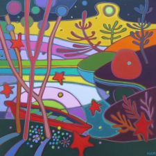 Kulig Red Canoe in Rainbow Sunset Acrylic 24 x 24