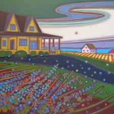 Kulig Yellow House Swirling Sky acrylic 30x40