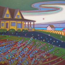 Kulig Yellow House Swirling Sky acrylic 30x40