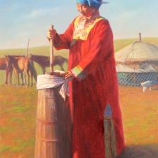 Woman Churning Dall