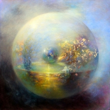 Loretta Fasan Between 2 Worlds oil and gold leaf on canvas 30x30