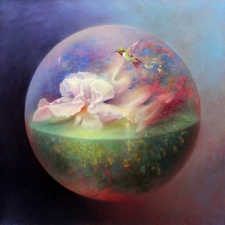 Loretta Fasan Iris oil and gold leaf on canvas 30x30