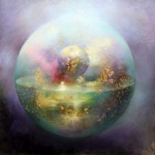 Loretta Fasan Small World oil and gold leaf on canvas 30x30 (2)