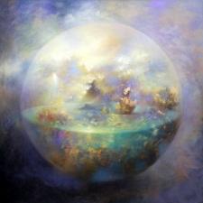 Loretta Fasan Soft Echoes oil and gold leaf on canvas 30x30