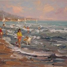 Keyhani-Playing on the Seaside-12x16