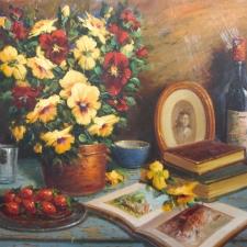 Keyhani-Strawberries, Pansies+Wine-24x30
