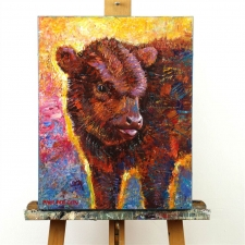 Paul Dolgov art Baby Cow 16x20 oil