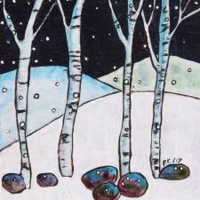 Winter Night #1 6x6 Paul Kekish acrylic on panel