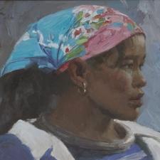 Situ-Girl-with-Blue-Scarf-9x12