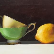 TaniaD-Cups & Lemon on Brown-14x38