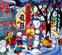 making-snowmen-16-x-20-in-acrylic-on-canvas-171370