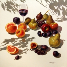 Glass of Wine and Fruit