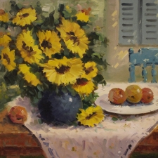 Moustafa-Keyhani-Sunflowers-and-Fruit-Blue-Vase-24x30